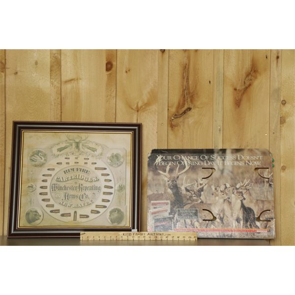 LOT OF 2 - WINCHESTER DISPLAY BOARD & POSTER