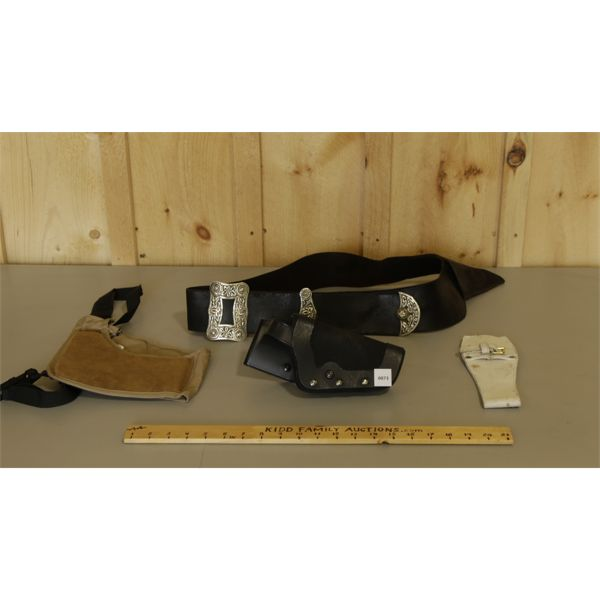 """LOT OF 5 - HOLSTERS & BELTS (APPROX 42"""")"""