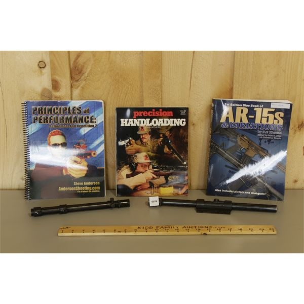LOT OF 3 SHOOTING BOOKS & 2 WEAVER SCOPES (CLOUDY BUT FUNCTIONAL)