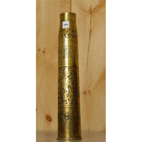 1943 SIX POUNDER WITH TRENCH ART WITH THEATRE ENGRAVING