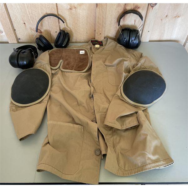 SHOOTING VEST - SZ 40 & 3 X EAR PROTECTION.