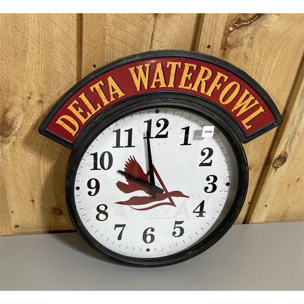 "DELTA WATER FOWL - GRAND CENTRAL CLOCK - APPROX 17"" DIAMETER"