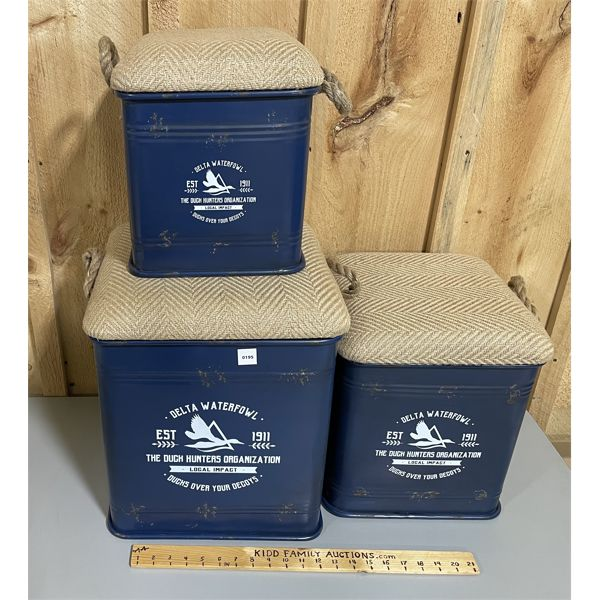 """SET OF 3 URBAN LOFT CONTAINERS - STACKING - LARGEST 13"""" X 16"""""""