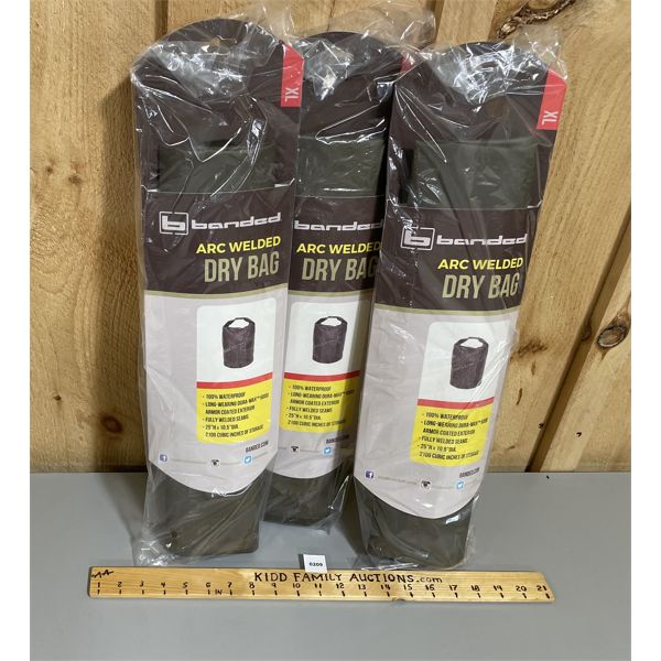 LOT OF 3 BANDED DRY BAGS - 2100 CUBIC INCHES