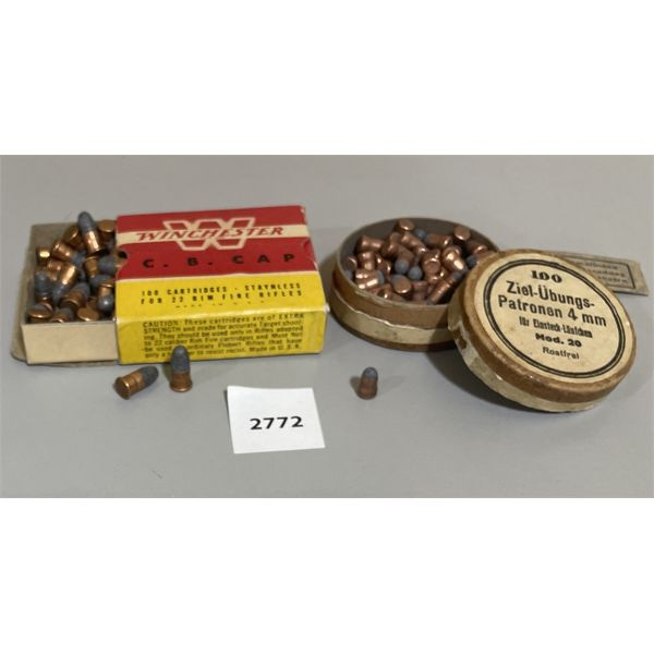 AMMO: 88X 4MM TARGET IN TIN, 77X WINCHESTER CB CAPS IN BOX