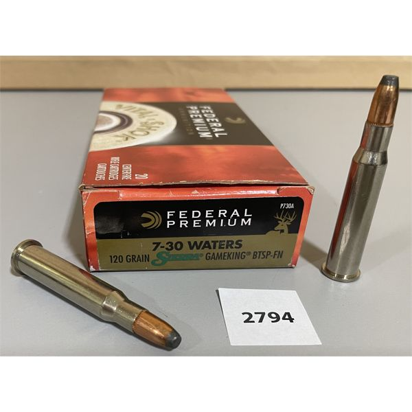 AMMO: 20 X FEDERAL 7 - 30 WATERS 120 GR