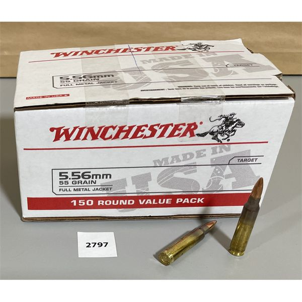 AMMO: 150 X WINCHESTER 5.56 CAL 50 GR