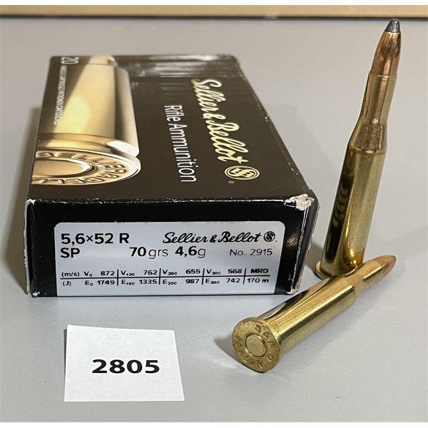 AMMO: 20 X S&B 5.6 X 52 R 70 GR