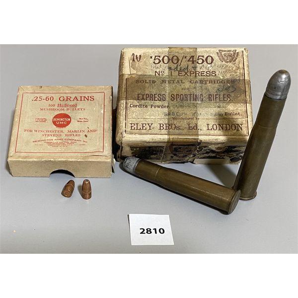 AMMO: 10 X .500 / .450 ELEY - ? RELOADS & 16 X .25 CAL BULLETS