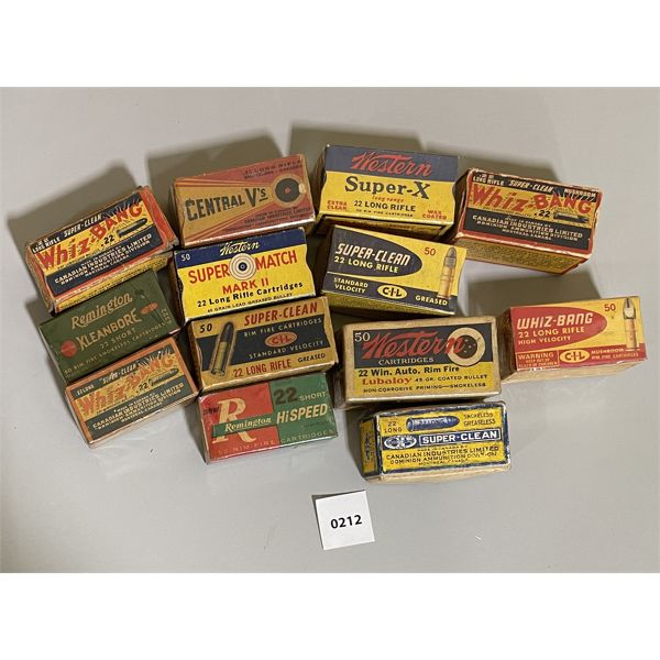 LOT OF 13 MISC .22 CAL VINTAGE AMMO BOXES