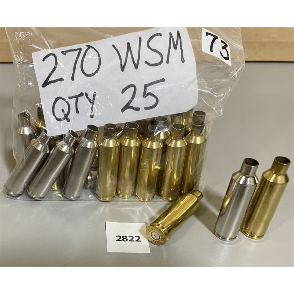 25 X .270 WSM CASINGS - ONCE FIRED
