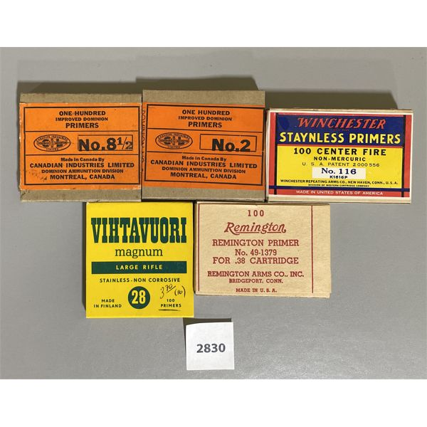 LOT OF 5 FULL VINTAGE BOXES OF PRIMERS