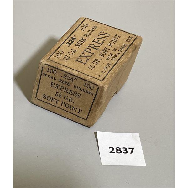BULLETS: 100 X .224 SISK 55 GR - SEALED BOX