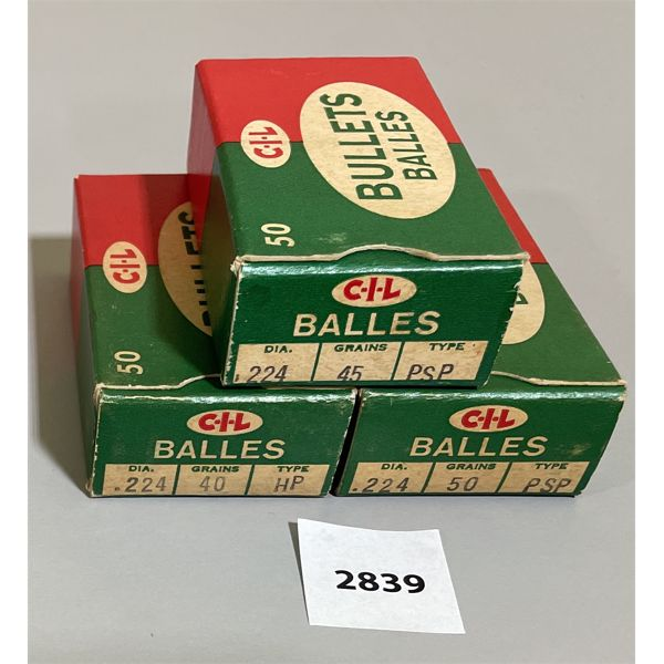 BULLETS: 150 X CIL .224 CAL 45, 50 GR