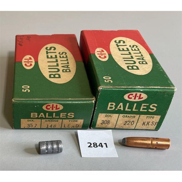 BULLETS: 50 X CIL .308 CAL 220 GR & 50 X CIL .357 CAL 148 GR