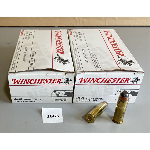 AMMO: 100 X WINCHESTER .44 REM MAG 240 GR