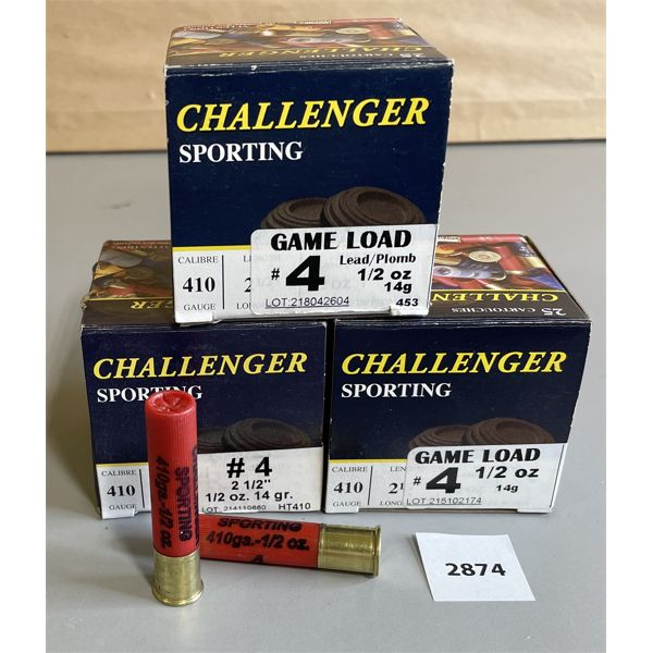 "AMMO: 75 X CHALLENGER 410 GA 2 1/2"" NO 4 SHOT"