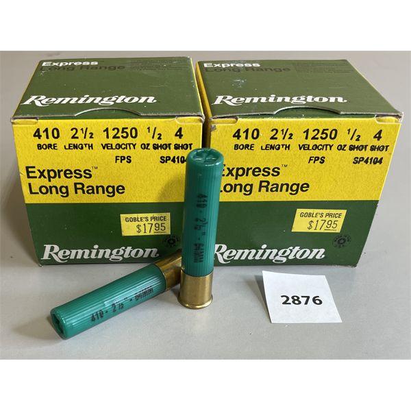 """AMMO: 50 X REMINGTON 410 GA 2 1/2"""" NO 4"""