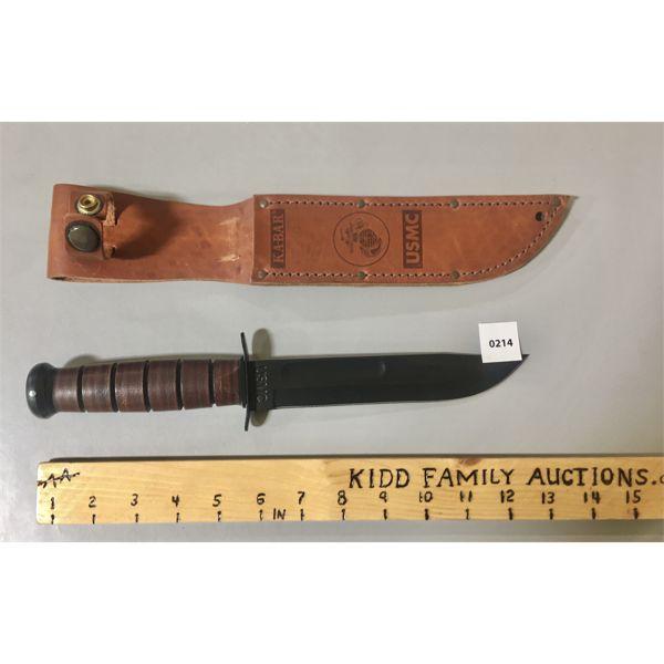 """USMC KA-BAR KNIFE - 8"""" BLADE W/ LEATHER SHEATH"""