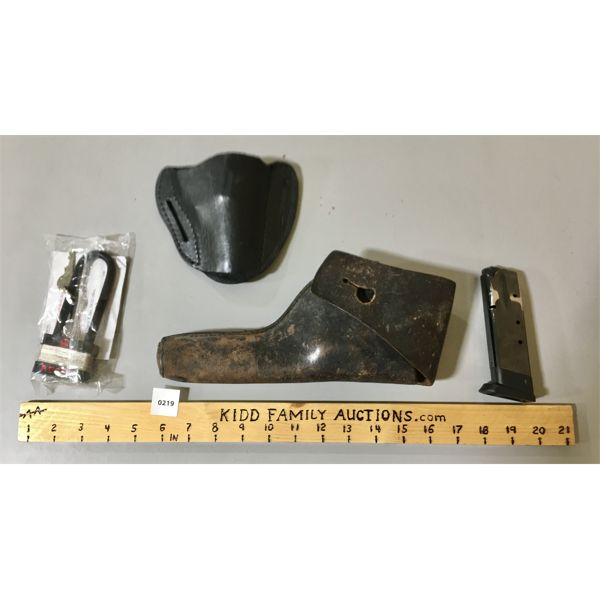 JOB LOT - IWI 9 MM MAG, 2 X LEATHER HOLSTER, RUGGER LOCK