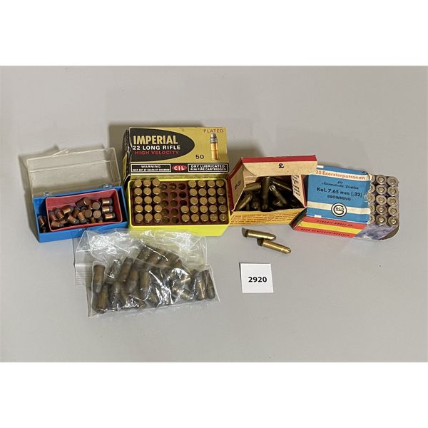 AMMO: APPROX 100 X MIXED .22, .32, ETC.