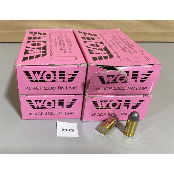 AMMO: 181 X WOLF .45 AUTO 230 GR - FACTORY RELOADS