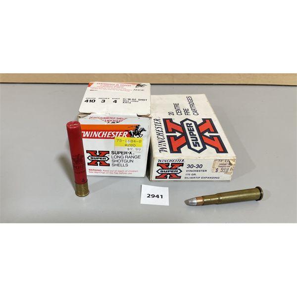 """AMMO: 25 X WINCHESTER 410 GA 3"""" 4 SHOT & 20 X WINCHESTER .30-30 170 GR"""