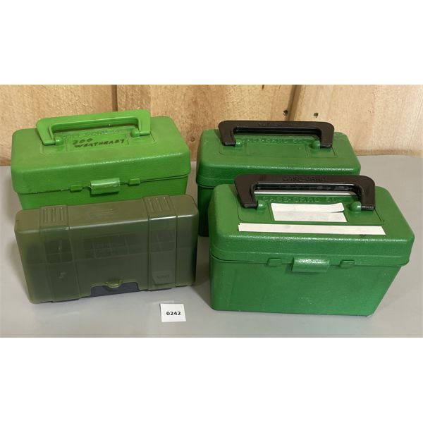 LOT OF 4 PLASTIC AMMO BOXES