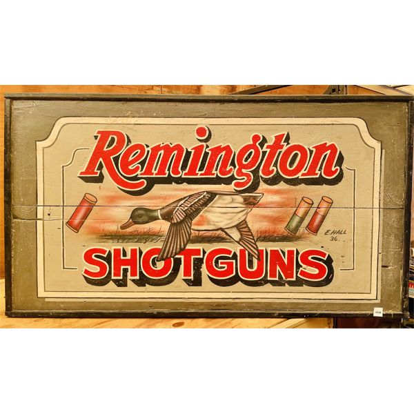 """PAINTED REMINTON AD IMAGE ON BOARD BY E HALL '36 - 25"""" X 45"""""""