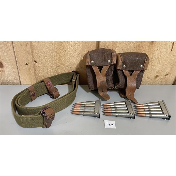 AMMO: MOSIN NAGANT AMMO POUCHES W/ 15 RNDS 7.62 X 54 R ON STRIPPER CLIPS & CANVAS SLING