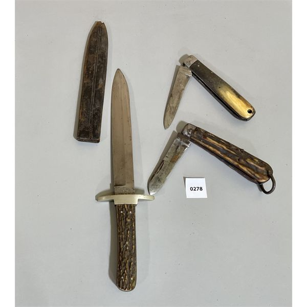 LOT OF 3 KNIVES. TWO SHEFFIELD