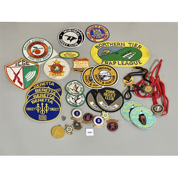 COLLECTION OF SKEET BADGES, PINS & BOLO TIES