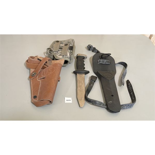 LOT OF 3 - LEATHER & CANVAS HOLSTERS & TABATA HUNTING KNIFE W/ SHEATH