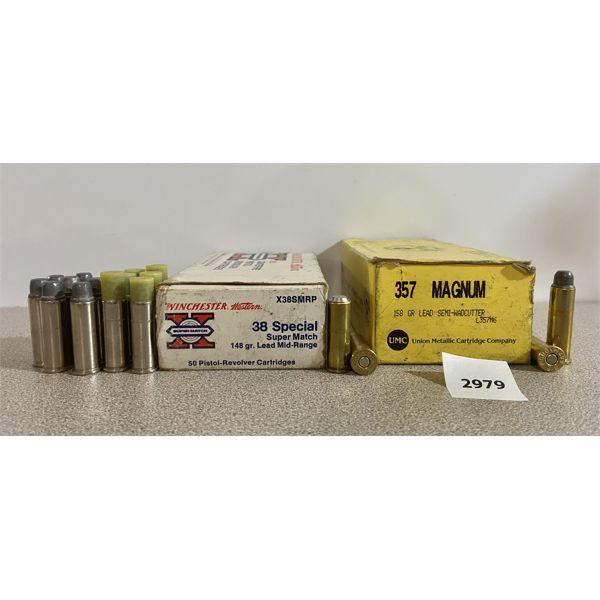 AMMO: 50X 357 MAG 158GR SWC & 64X 38 SPL