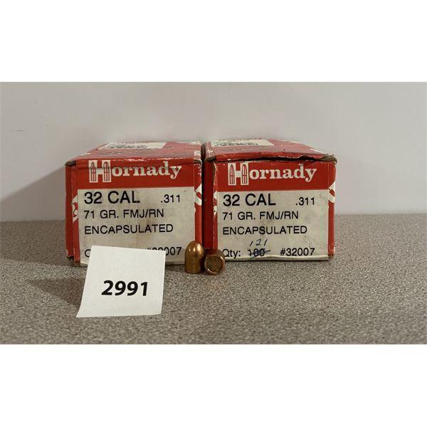 """BULLETS: 221X HORNADY 32 CAL (.311"""" DIA) 71GR FMJ RN"""