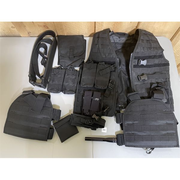 JOB LOT - TACTICAL WEAR, PROTECTIVE GEAR, POUCHES, MAG LIGHT.