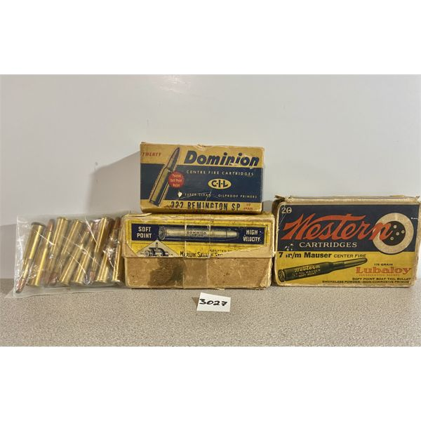 AMMO: MIX OF CARTRIDGES INCLUDING 23-35, 38-55, 222, 7MM