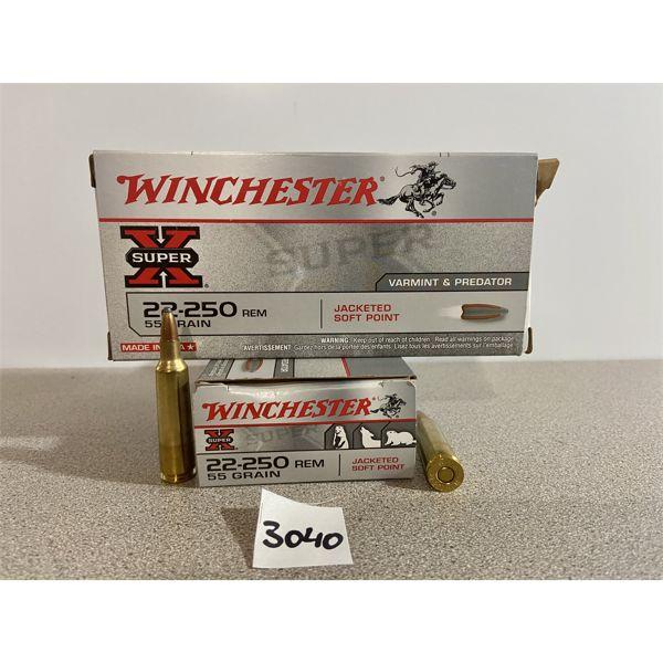 AMMO: 40X WINCHESTER 22-250 REM 55GR JSP