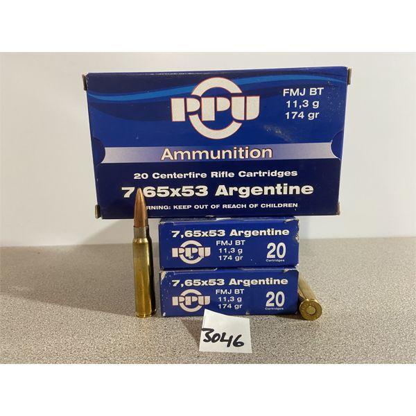 AMMO: 60X PPU 7.65X53 ARGENTINE 174GR FMJ BT