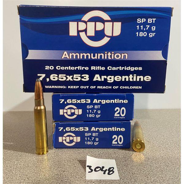 AMMO: 60X PPU 7.65X53 ARGENTINE 180GR SP BT