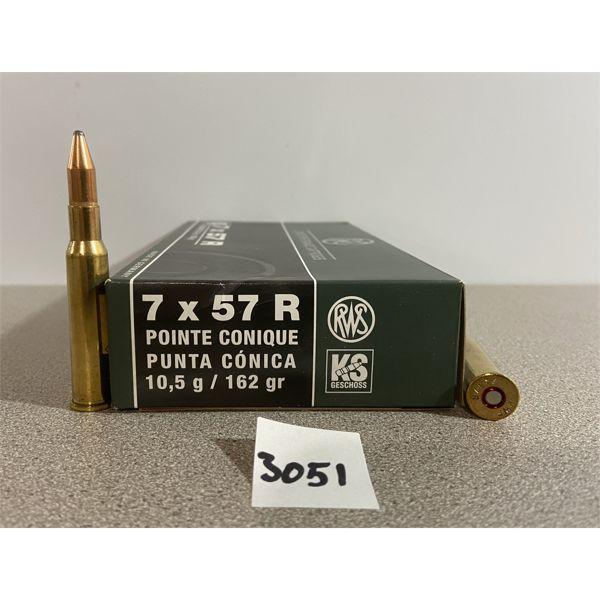 AMMO: 20X RWS 7X57R 162GR CONE POINT