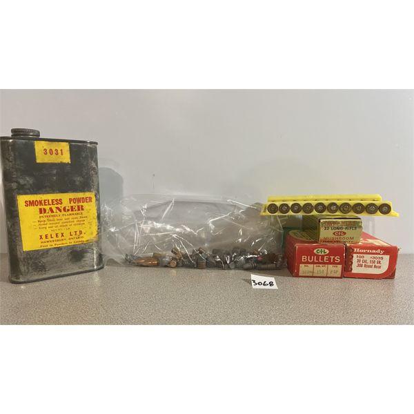 POWDER & BULLETS: 1/2 LB #3031 & APPROX 60X MIXED BULLETS
