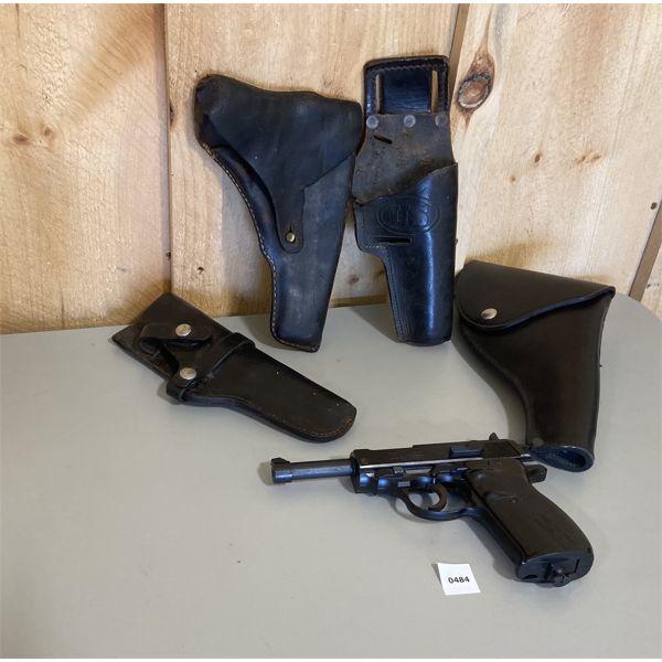 LOT OF 4X HOLSTERS & MODEL 338 AUTO BB GUN