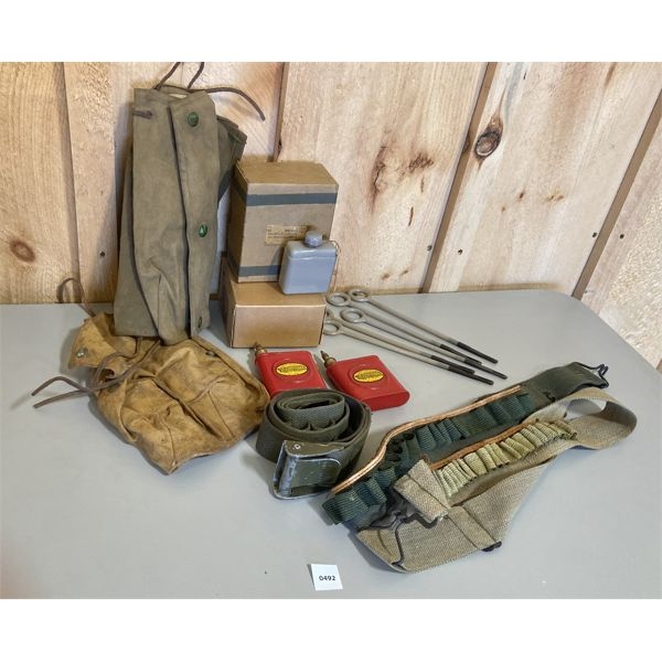 OIL BOTTLES, CLEANING RODS, AMMO BELTS, POUCHES