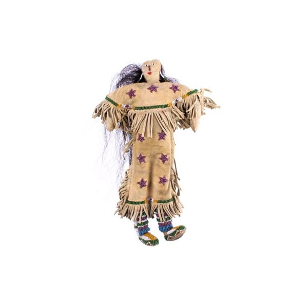 Sioux Star Beaded Hide Child's Doll w/ Real Hair