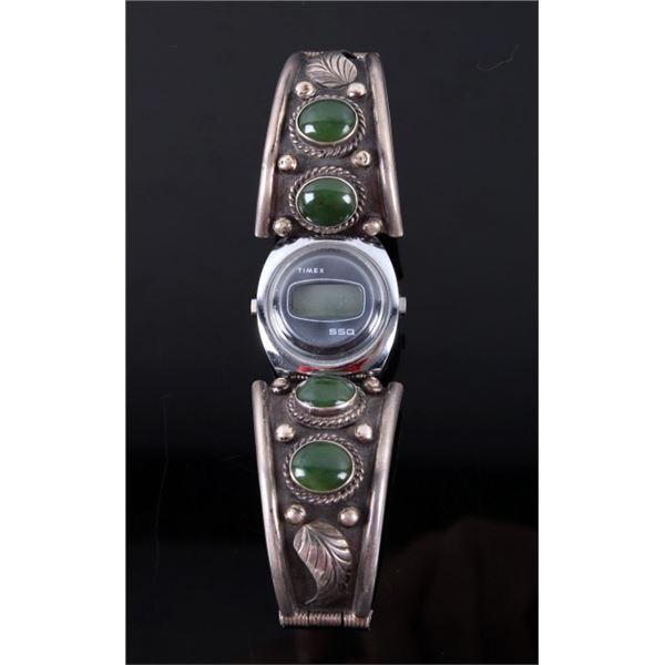Navajo Sterling & Jade Watch Band Cuff w/ Clasp