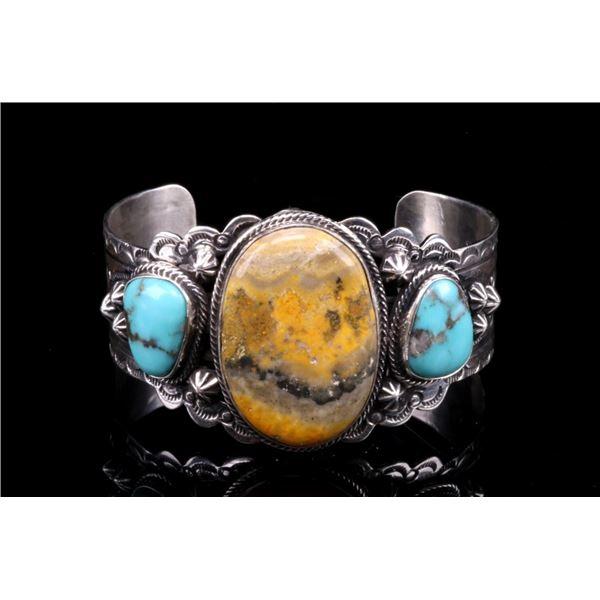 Navajo Silver Bumble Bee Jasper Turquoise Bracelet