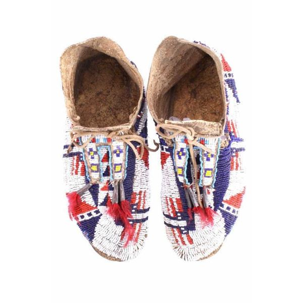 Sioux Flag Beaded Bifurcated Moccasins 19th C.