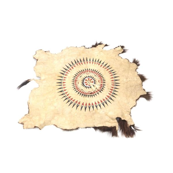 Sioux Polychrome Painted Buffalo Hide 20th Century