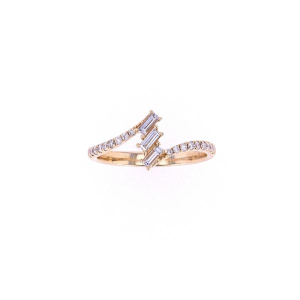 Bypass Baguette Diamond 14k Yellow Gold Ring